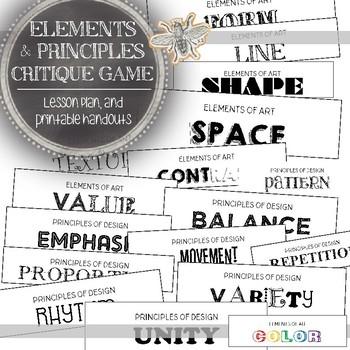 Visual Art Critique Elements of Art and Principles of Design Activity
