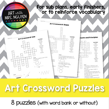 Visual Art Crossword Puzzles (Set of 8) - Great for sub plans!