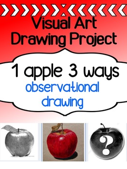 Visual Art Drawing Project for high school - 1 Apple, 3 Ways