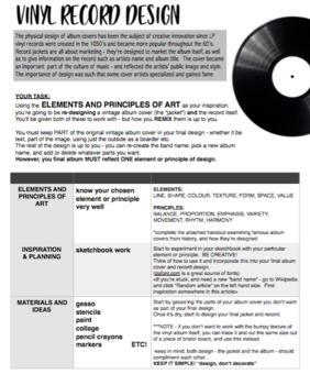 Visual Art - Elements and Principles of Art - Vinyl Album design project