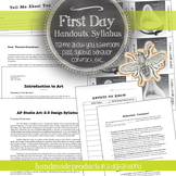 Visual Art First Day of School Bundle Pack: Syllabus, Hand