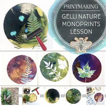 Visual Art Gelli Printmaking, Nature Inspired Monoprints with Watercolor