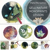Visual Art Gelli Printmaking, Nature Inspired Monoprints w