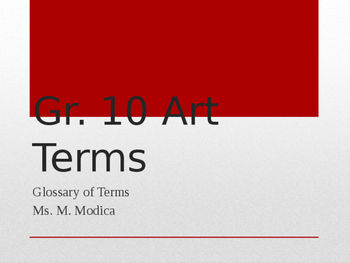 Visual Art Glossary of Terms