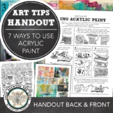 Visual Art Middle or High School Project: Visual Journal Tips, Acrylic Paint