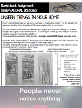 Visual Art - Observational Drawing Sketchbook - UNSEEN THINGS IN YOUR HOME