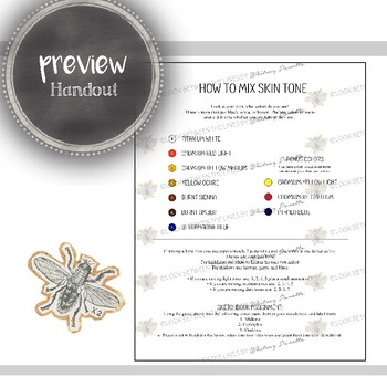 Visual Art Printable Handout: How to Mix Skin Tone Portrait Painting Guide