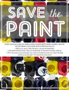 Visual Art Printable Poster: Save the Paint, Teaching How to Care for Supplies