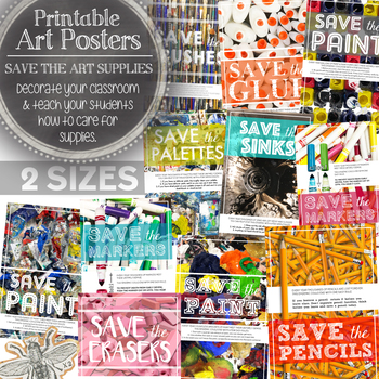 Visual Art Printable Posters Bundle: Save the Supplies, How to Care for Supplies