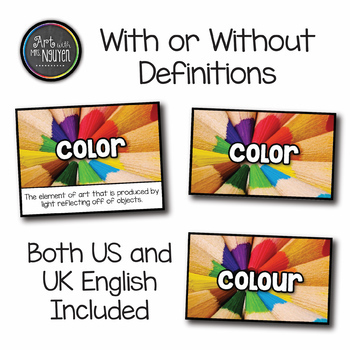 Elementary Art Word Wall Cards (216 vocabulary words with images)