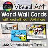 Elementary Art Word Wall Cards (With and Without Definitions)