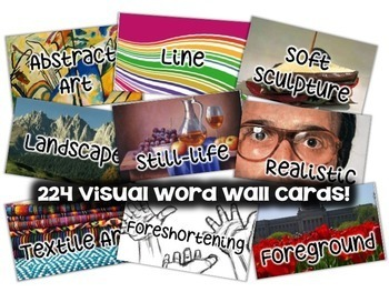 Art Word Wall Cards (224 words with images): AUS/CAN/UK ENGLISH