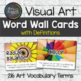 Art Word Wall Cards WITH Definitions (216 cards)