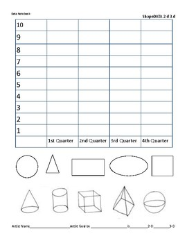 Visual Arts 2-D and 3-d Shape Data Notebook Form