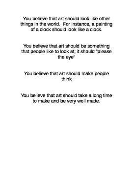 Visual Arts Aesthetics Belief Cards