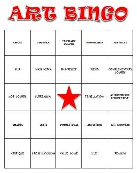 Visual Arts: Art Vocabulary Bingo (DOCX) (Review or Sub Plan) (High School)