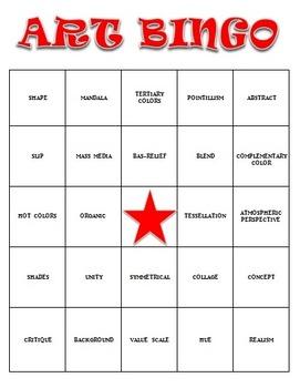 Visual Arts: Art Vocabulary Bingo (DOCX) (Review or Sub Pl