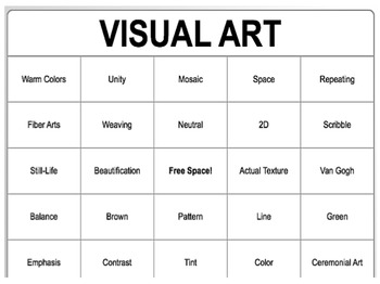 Visual Arts BINGO