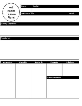 Visual Arts Blank lesson Plan Format