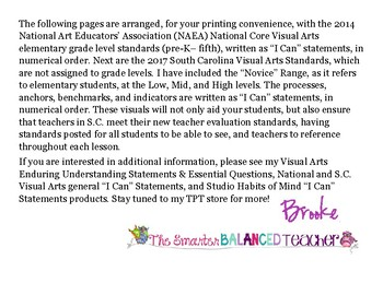 "Visual Arts Elementary Grade-Level Standards ""I Can"" Statements"