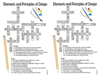 Visual Arts Elements and Principles Crossword (color)