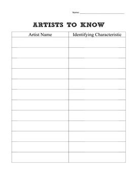 Visual Arts First Day of School Printables: Artist to Know Table