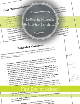 Visual Arts First Day of School Printables: Letter to Parents, Behavior Contract