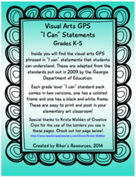 "Visual Arts Standards ""I Can"" Statements (Grades K-5) (as of 2009)"