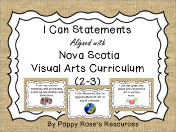 Visual Arts I Can Statements for Nova Scotia Grade 2- Grad