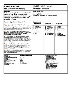 Visual Arts - Introduction Lesson Plan