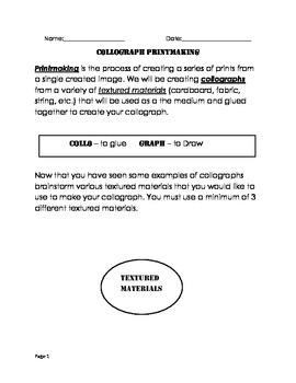 Visual Arts - Junior and Intermediate - Printmaking Project