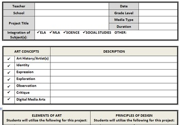 visual arts lesson plan template word document by jessica brown tpt