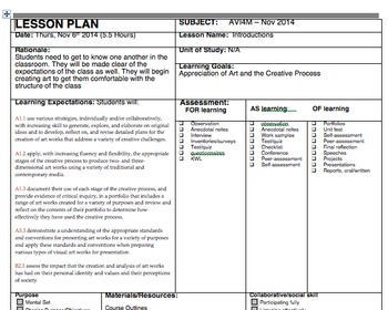 Visual Arts - Lesson Plans - Whole Unit