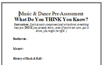 Visual Arts: Music and Dance  - Pre-Assessment (What Do You Already Know)