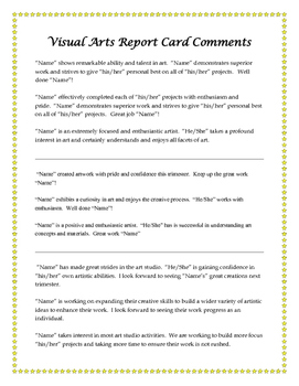 Visual Arts Nurturing Elementary Report Card Comments