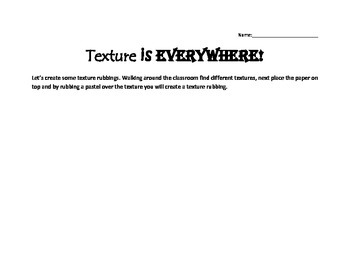 Visual Arts - Primary - Texture Handout