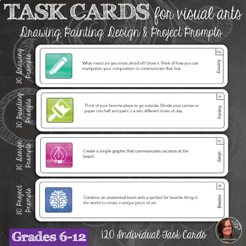 120 Visual Arts Task Cards with prompts for Drawing, Painting, Design & Projects