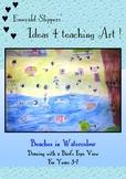 Visual Arts: Watercolour Beach Drawing Using A Bird's Eye View