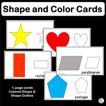Vocabulary: Color & Shape Cards from basic shapes to  heptagon & decagon