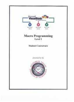 Visual Basic for Applications (VBA) Student Courseware Level 1