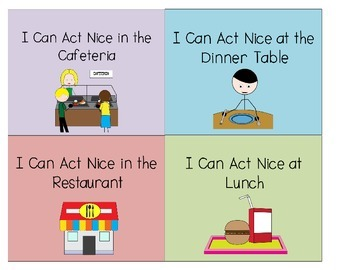 Visual Behavior Cue Cards: I Can Act Nice When I'm Eating