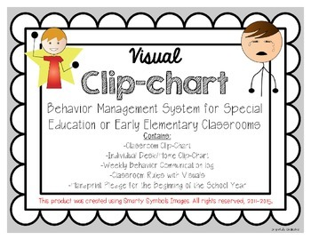 Visual Behavior Management Clip-Chart for Early Elementary or Special Ed