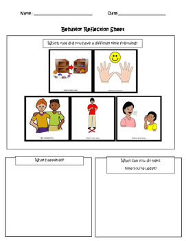 Visual Behavior Reflection Sheet