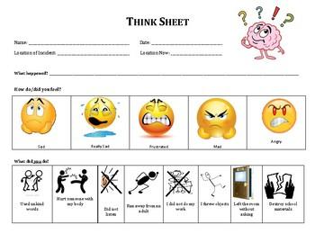 Visual Behavior Reflection Think Sheet