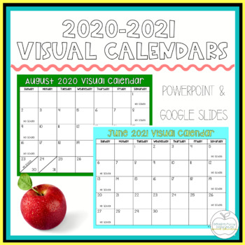 Visual Calendar Templates August 2019 July 2020 For Special