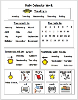 Calendar Worksheets for Students with Autism or Special Education!
