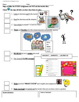 Visual Checklist for Completing Assignments- Executive Functioning