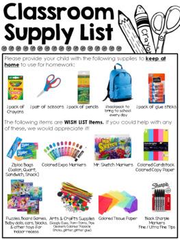 Visual Classroom Supply List