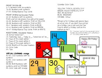 Visual Color Coded Calendar Numbers and Visuals for Special Education
