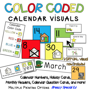 Visual Color Coded Calendar Numbers and Visuals for Specia